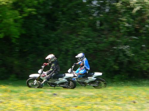 The Zero X motorcross bikes amuse the RSR motorcross team riders.