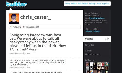 Chris Carter of Throbbing Gristle: Illustration of Twitter/Flickr/BoingBoing recursive meta-bombing