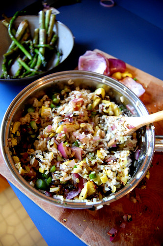 Combine veggies/wild rice