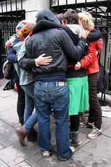 Camp staff group hug