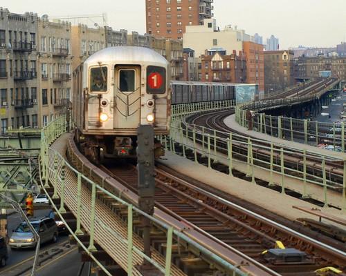 No 1 Train on Elevated Subway Tracks, Inwood, New York City