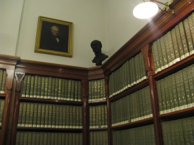 Books on a wall in a study area in the old building
