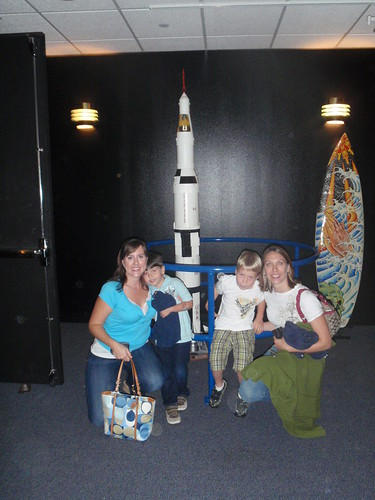 Us with Saturn V model... and a surfboard...