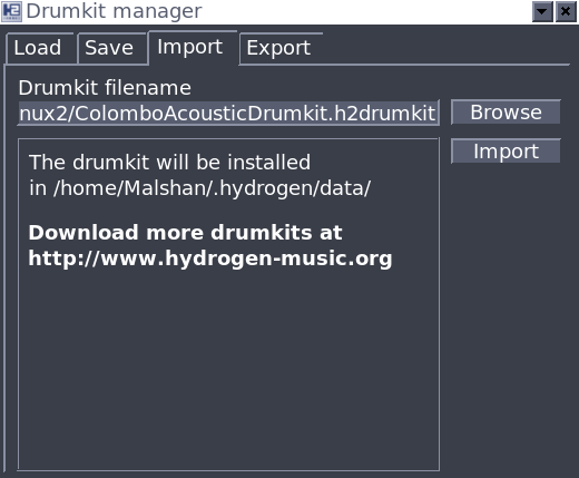 .h2drumkit files importing