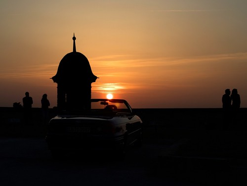 sunset over cabriolet