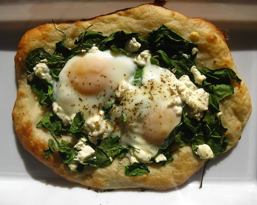 Spinach, Goat Cheese and Egg Pizza