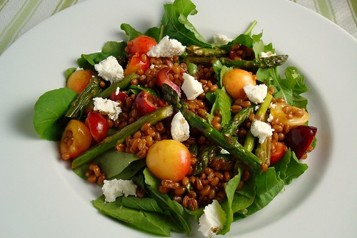 Wheatberry Salad with Cherries and Roasted Asparagus
