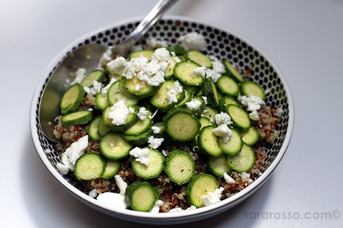 Red and White Quinoa with baby zucchini and feta cheese