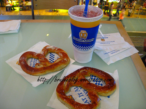 salted and garlic pretzels, and cherry lemonade from Auntie Annes