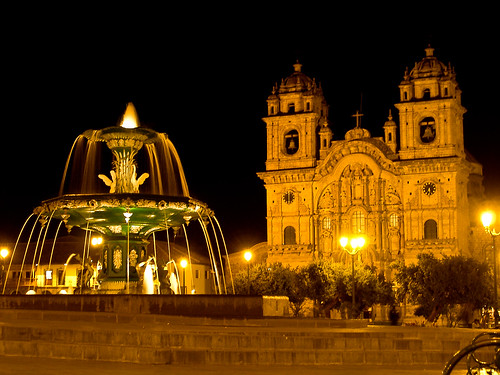 Cusco cuzco peru plaza night fountain