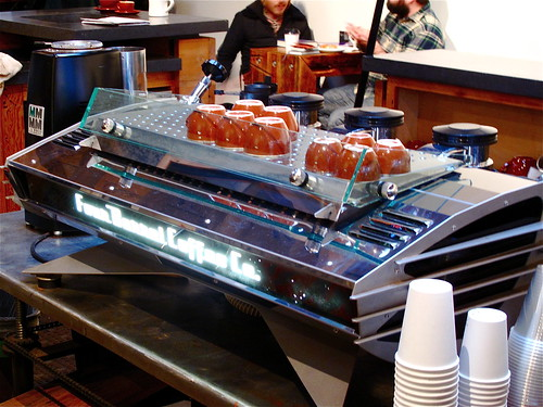 Four Barrel's custom-designed three-group La Marzocco Mistral
