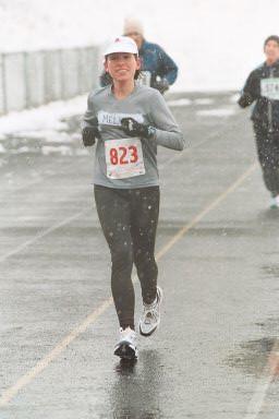 Melissa at mile 26 of Frederick Marathon