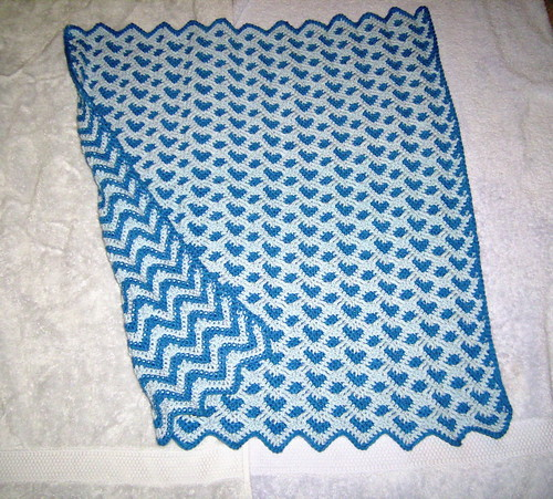 Blue Sweetheart Ripple Afghan