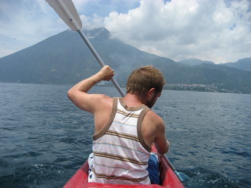 Kayaking across Lake Atitlan