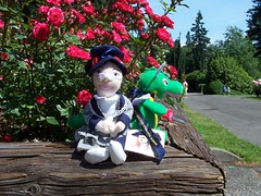 Thats Katharine with Wesley the dragon.  See?  Im not the only wacko who takes pictures of a stuffed toy while Im traveling . . .