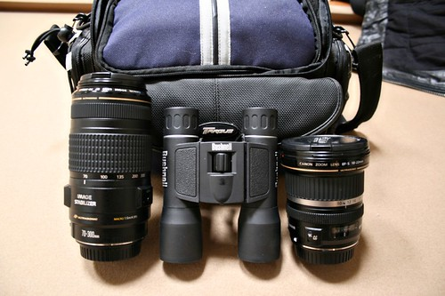 The rental camera gear, and our binoculars.
