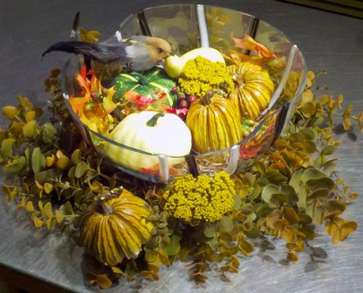 Autumn Joy - A clear glass bowl filled with autumn leaves, mini pumpkins and a little bird, or a cute trio of flowering mum plants sitting on the table sets the tone for the fall season.