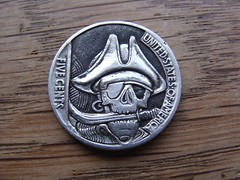 "Pirate skull Hobo nickel • <a style=""font-size:0.8em;"" href=""http://www.flickr.com/photos/72528309@N05/9422791050/"" target=""_blank"">View on Flickr</a>"