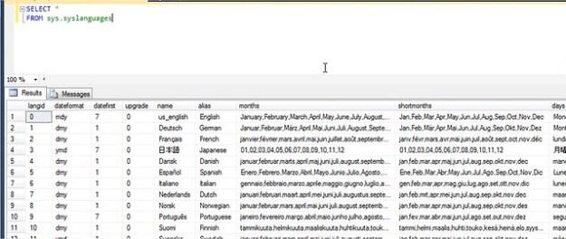 SysLanguages on Microsoft SQL Server
