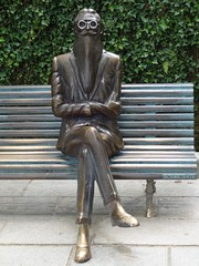 Statue of Ramon del Valle-Inclan - famous Spanish writer - in Alameda park