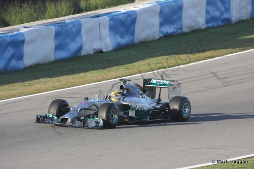 Lewis Hamilton in his Mercedes at Formula One Winter Testing 2014
