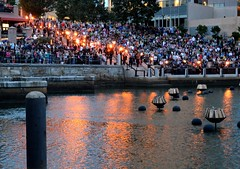 The beginning of WaterFire's lighting ceremony