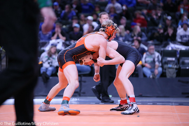 132AA - 1st Place Match - Tucker Sjomeling (Delano) 42-1 won by major decision over Payton Anderson (Fairmont-Martin County West) 39-8 (MD 9-1)