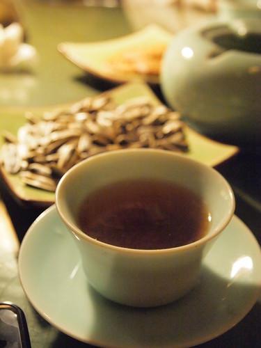 大可堂客でいただいたプーアール茶
