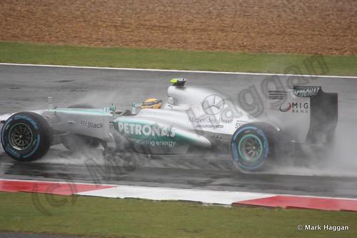 Lewis Hamilton in Free Practice 1 for the 2013 British Grand Prix