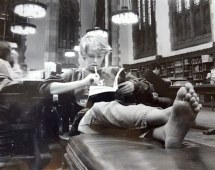 Barefoot Students in Library