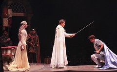 From far left: Joseph Sark, Lisa O'Hare, Time Winters, Davis Gaines, and Sean Hayden in Camelot at Music Circus August 2-7. Photo by Charr Crail.