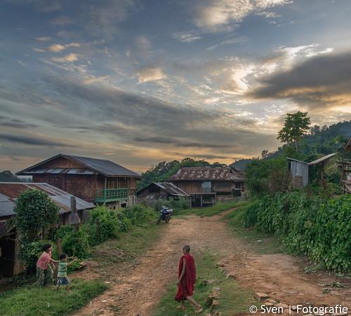 Young Monk walking in Pan Kam Village