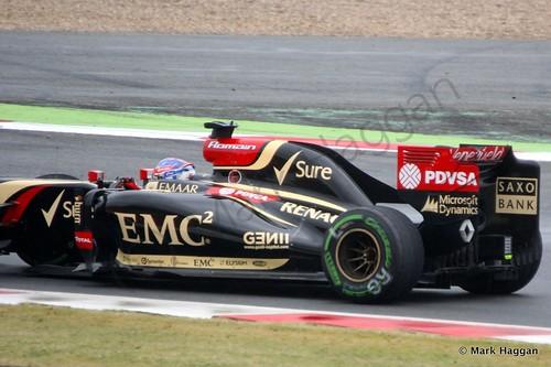 Romain Grosjean in his Lotus during qualifying for the 2014 British Grand Prix