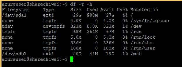 Microsoft Azure Check default Linux Virtual Machine Hard Drive Space