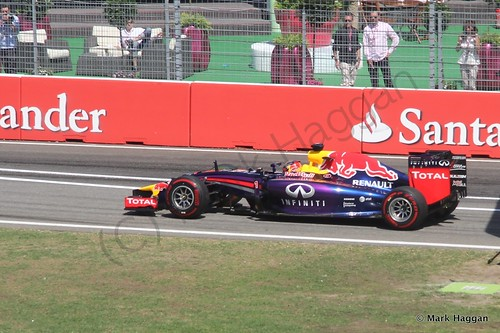 Sebastian Vettel in his Red Bull during Free Practice 2 at the 2014 German Grand Prix