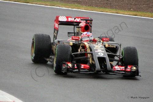 Romain Grosjean in his Lotus during Free Practice 3 at the 2014 British Grand Prix