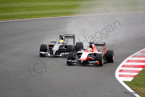 Esteban Gutierrez and Jules Bianchi during Qualifying for the 2014 British Grand Prix