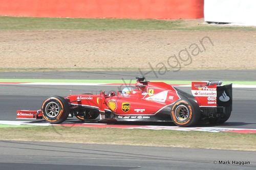Fernando Alonso in his Ferrari during Free Practice 1 at the 2014 British Grand Prix