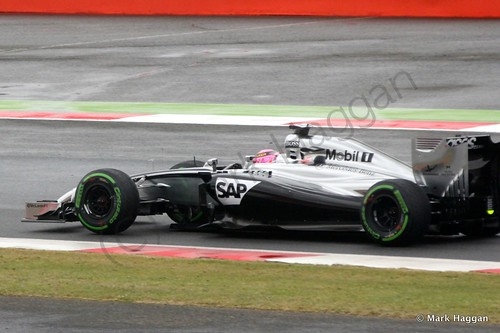 Jenson Button in his McLaren during qualifying for the 2014 British Grand Prix