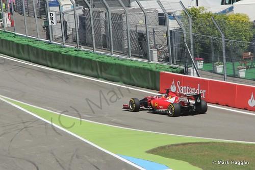 Fernando Alonso in his Ferrari in Free Practice 2 at the 2014 German Grand Prix