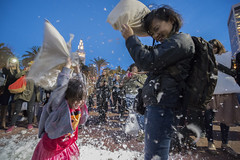 Hundreds of people gather at Justin Herman Plaza in San Francisco to smack each other with pillows during the annual Valentine's Day pillow fight on Feb. 14, 2017.
