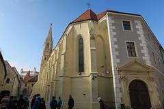 Kostol Klarisiek, tourists and pigeons