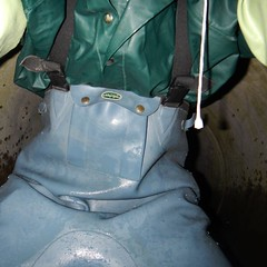 ChameaublauKanal0528 Kanalgummi Tags underground rubber worker exploration sewer waders
