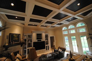 Hand-scraped Pine panels and Coffered Ceiling.