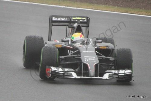 Esteban Gutierrez in his Sauber during Free Practice 3 at the 2014 British Grand Prix