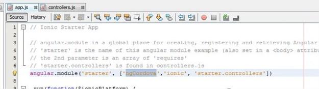 Add ngCordova Module to Ionic's app.js