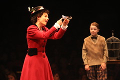 Kelly McCormick (Mary Poppins) and Ben Ainley-Zoll (Michael Banks) in Mary Poppins, produced by Music Circus at the Wells Fargo Pavilion July 8 - 13, 2014. Photos by Charr Crail.