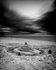 """Findhorn Sandcastle (mono) • <a style=""""font-size:0.8em;"""" href=""""http://www.flickr.com/photos/26440756@N06/14694762664/"""" target=""""_blank"""">View on Flickr</a>"""