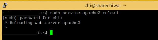 Reload Apache service on Linux - sudo service apache2 reload