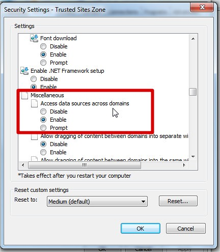 IE -> Security Settings -> Access data sources across domains